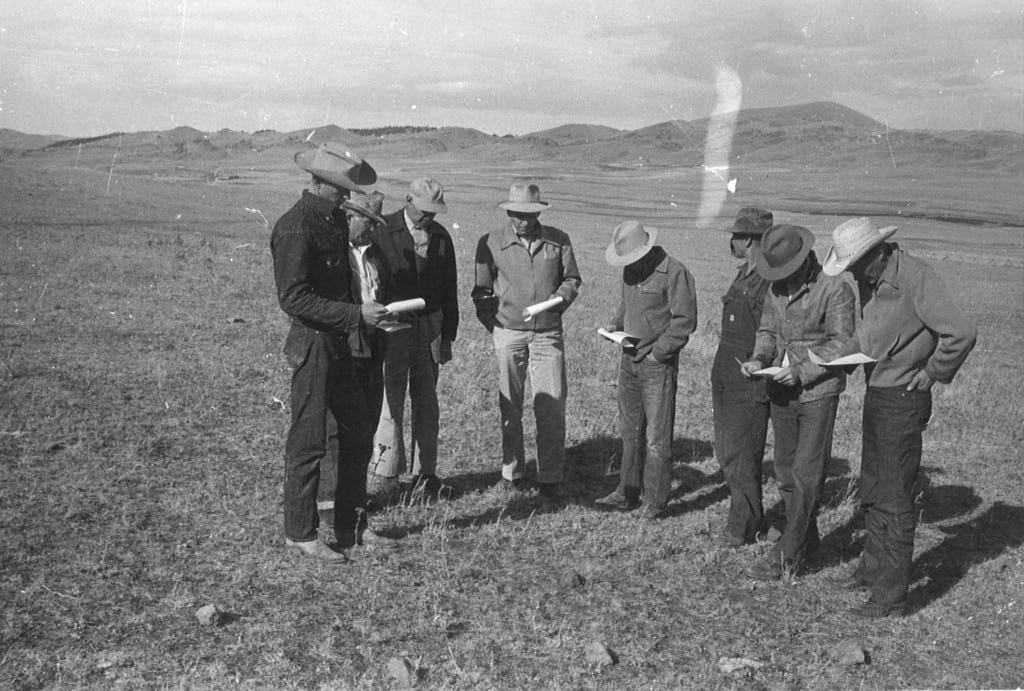 Left to Right: Don Hilger, Art Murphy, Emil Rittel, M.D. Burdick (range specialist), Frank Thompson, Adolph Burggraff, Joe Williams, Mike Jackson