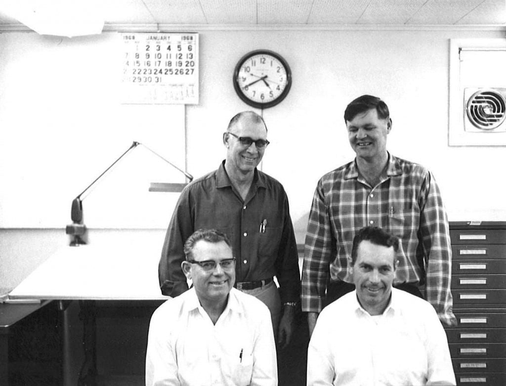 Back row, l-r: Mack McConnel, Van Hatterly Front row, l-r: Art Olson, Merve Haub